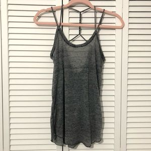 CHASER Gray Burnout Twisted Strappy Tank Top
